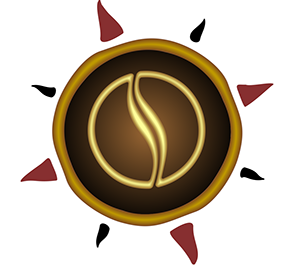 AromasWorld Logo with coffee vapor waft