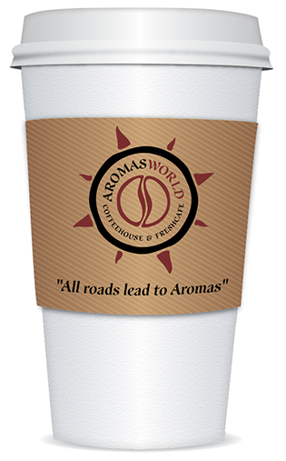 AromasWorld Logo with disposable cup