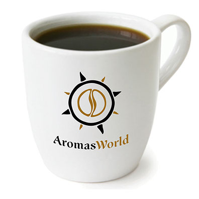 AromasWorld Logo with restaurant cup