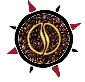 AromasWorld Logo with coffee beans