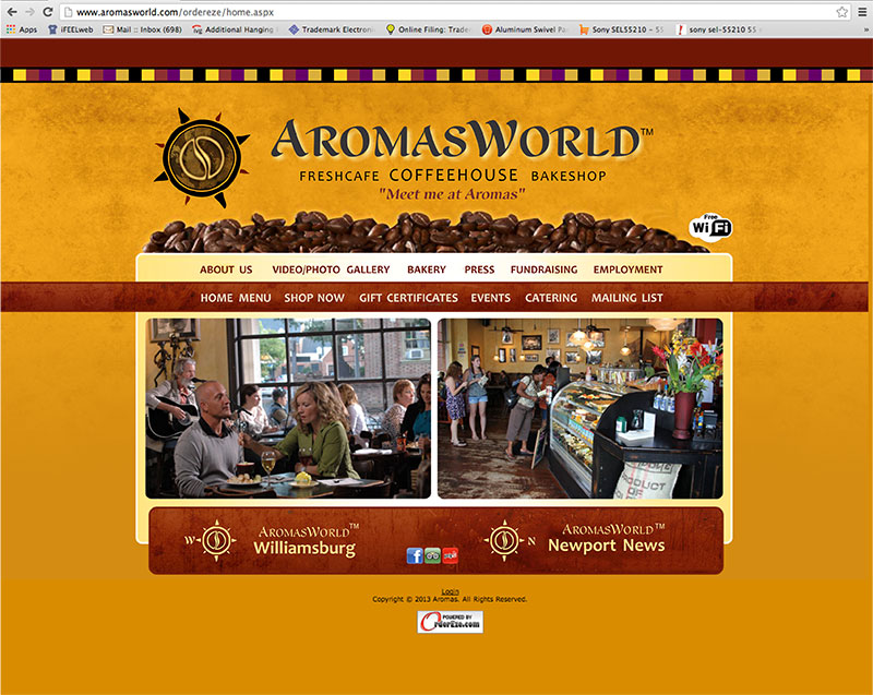 AromasWorld Website with trade dress