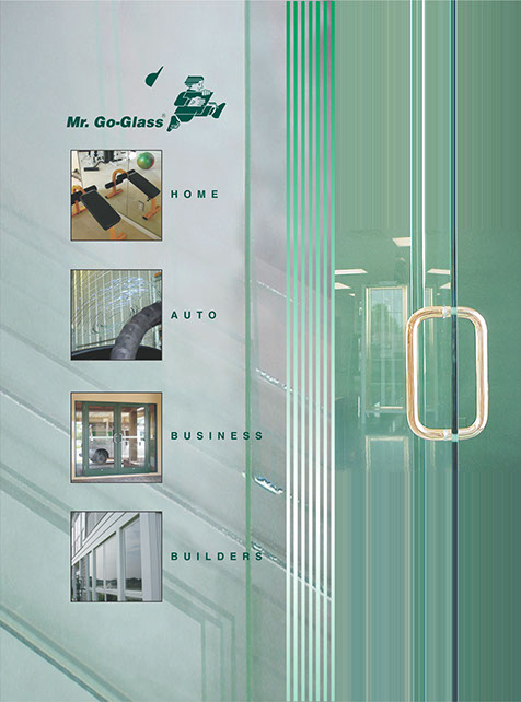 Mr. Go-Glass brochure cover showing main company services