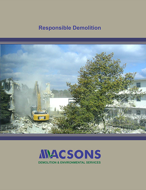 Macsons Brochure Cover - showing delicate protection of environment in massive heavy demolition