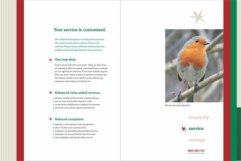 Star Robbins brochure using photograph of robin to enhance name of company.