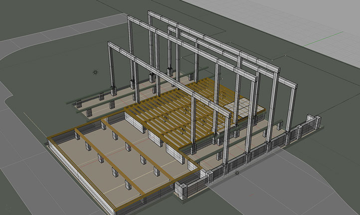 3D Model plan of Timberframe post and beam construction.