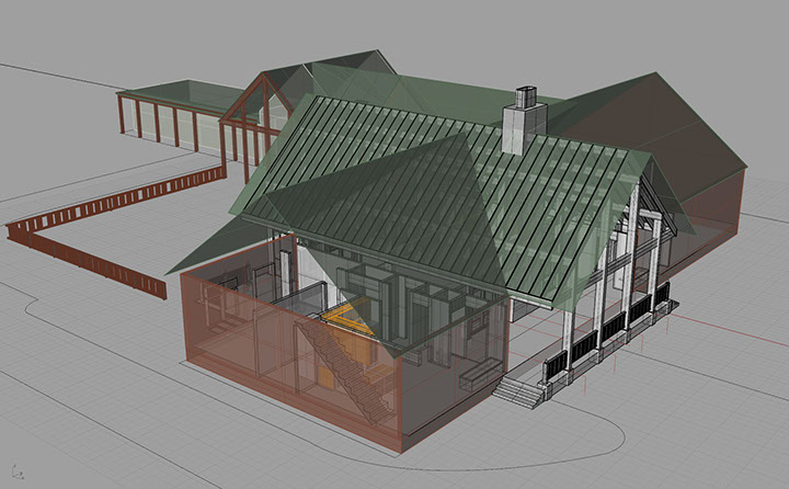 Full Roof and Rafter view of Timberframe House