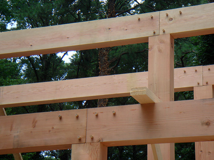 "Solid Fir Beams with 1"" Oak pins securing tenons and splines."
