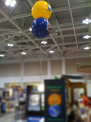 Trade Show helium balloon used to draw attention to booth.